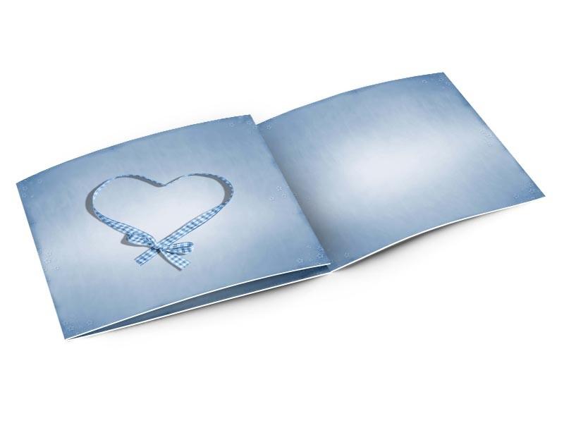 Faire-part naissance - Coeur de ruban bleu