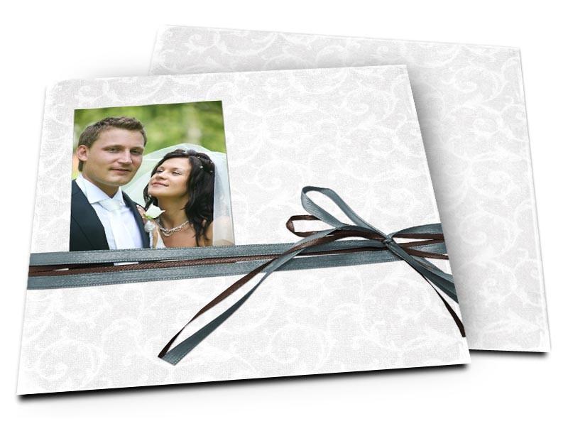 Remerciements mariage - Un double ruban marron et bleu