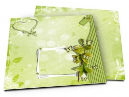 Faire-part mariage - Coeur vert et cadre blanc