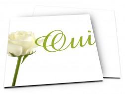 Faire-part mariage - Un bouton de rose blanche pour dire oui