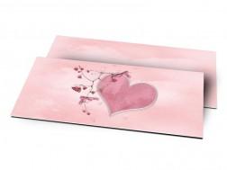 Remerciements naissance - Coeur rose et liane fleurie
