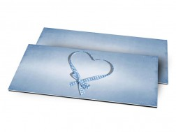 Remerciements naissance - Coeur de ruban bleu