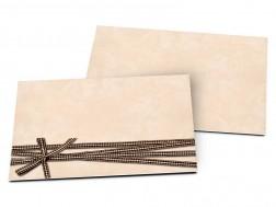 Carton d'invitation mariage - Beige enrubanné
